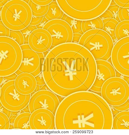 Chinese Yuan Coins Seamless Pattern. Lovely Scattered Cny Coins. Big Win Or Success Concept. China S