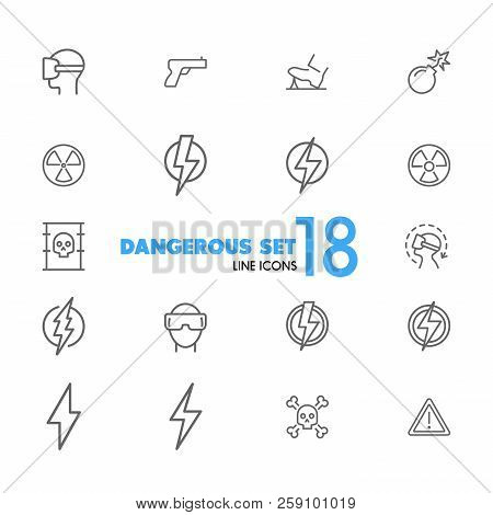Dangerous Icons. Set Of Line Icons. Bomb, Radiation Sign, Lightning Bolt. Caution Symbols Concept. V