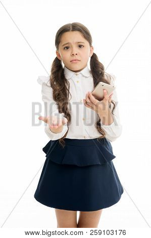 Please one more call. Schoolgirl ask permission to use mobile phone in school. Banned in school. Girl pupil school uniform sad begging permission use mobile phone smartphone. School rules concept. poster