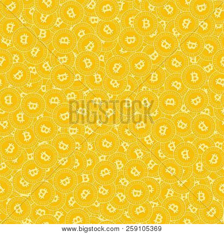 Bitcoin, Internet Currency Coins Seamless Pattern. Trending Scattered Btc Coins. Big Win Or Success