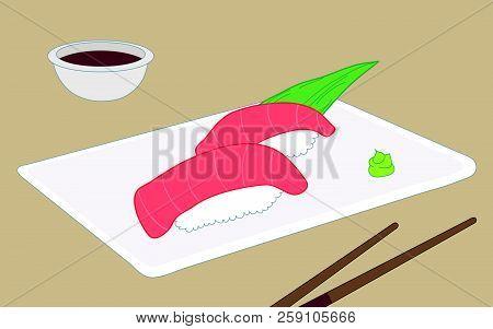 Toro Sushi, Fatty Bluefin Tuna Belly Sushi Dish With Chopsticks And Sauce
