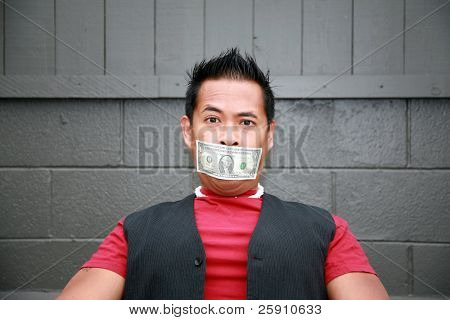 a man with a one dollar bill taped over his mouth expresses frustration with the us economy poster