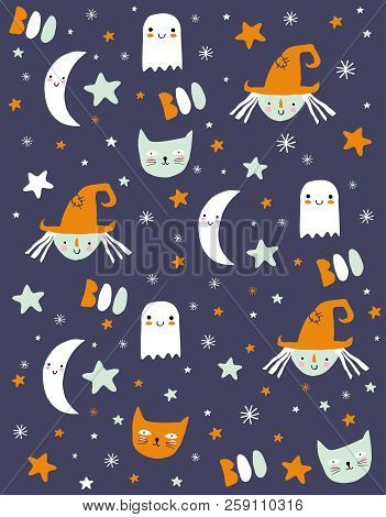 Funny Hand Drawn Halloween Vector Pattern. Dark Blue Background. Orange, White And Mint Green Starrs