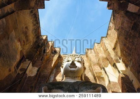 Buddha in Sukhothai Province Thailand. Wat Srichum in Sukhothai Historical Park is a historic site. poster