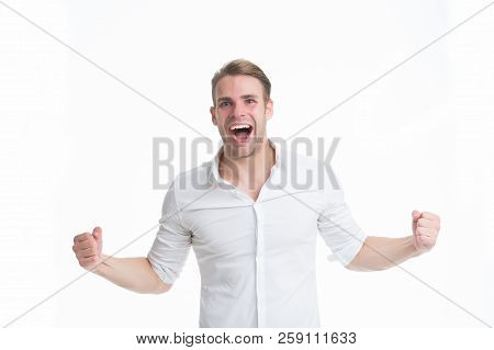 Man Cheers Success. Guy Formal Clothes Shouting And Celebrating Success. Businessman Happy Emotional