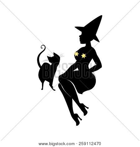 Black Silhouette Of Witch In Hat, Halloween. Sorceress In Dress Is Sitting With Black Cat. Young Wom