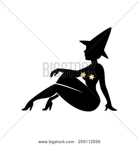 Black Silhouette Of Witch In Hat, Halloween. Sorceress Is Sitting Sideways. Young Woman In Carnival