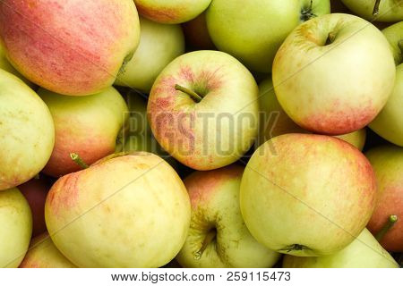 Closeup Of A Bunch Delicious Ripe Red And Yellow Apples