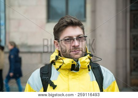Man Tourist Wear Warm Protective Clothes For Cold Climate Conditions. Tourist Traveller Concept. Tou