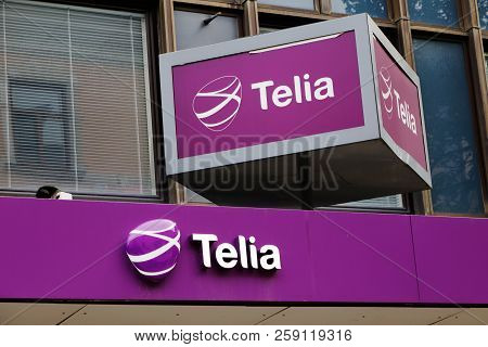 Sundsvall, Sweden - May 30, 2016: The Telia Retail Shop Sign Above The Entrance To Its Shop At Storg