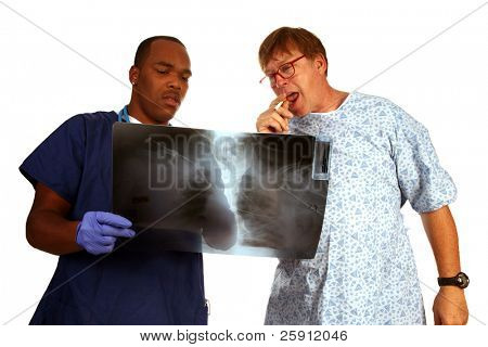 A doctor and patient discuss a mans continuing to smoke cigarettes even with evidence of lung cancer Anti-Smoking Concept series