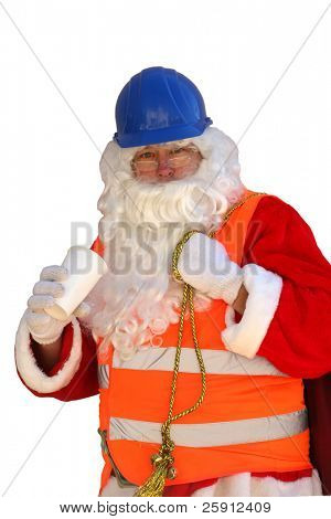 Santa Claus takes a coffee break and wears his Construction Clothes and Hard Hat isolated on white