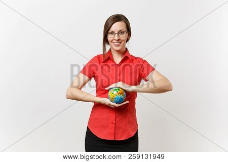 Portrait Of Business Or Teacher Woman In Red Shirt Holding In Palms Earth Globe Isolated On White Ba