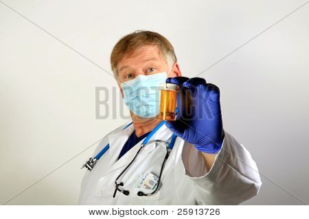 A Doctor in a Paper Mask holds a bottle of pills representing the Mexican Swine Flu Pandemic