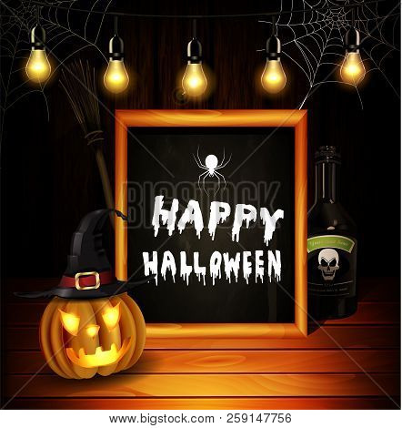 Halloween Pumpkin Realistic With Witch Hat Botle With Poison And Broom On Wooden Wall Background Wit
