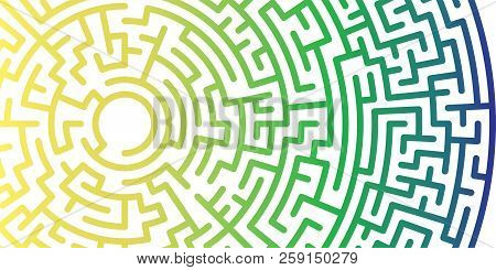 Background With Graphic Abstract Geometry Labyrinth Pattern. Gradient Maze Circle. Gradient Labyrint