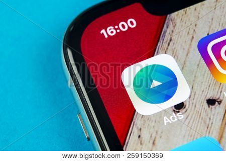 Sankt-petersburg, Russia, September 19, 2018: Facebook Ads Application Icon On Apple Iphone X Screen