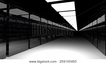 Server racks in server room cloud data center. Datacenter hardware cluster. 3d render poster