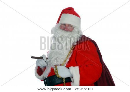 Santa with a cigar portrait isolated on white with room for your text