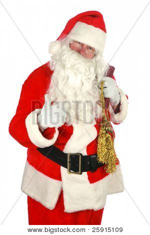 Santa  portrait isolated on white with room for your text