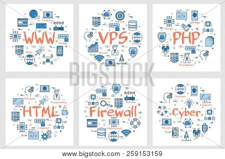 Vector six business square banners - WWW, VPS, PHP, HTML, firewall and cyber concept. Coding, programming languages and internet technology concepts in linear style on white background poster