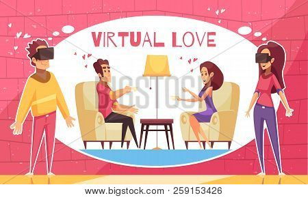 Virtual Love Compoaision With Flat Cartoon Style Human Characters Having Virtual Date In Augmented R