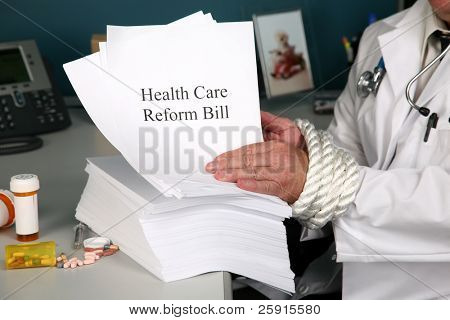 Health Care Reform Bill  a doctors hands are tied