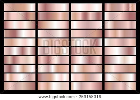 Collection Of Rose Gold Metallic Gradient. Brilliant Plates With Golden Effect. Vector Illustration.
