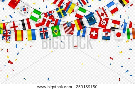 Colorful Flags Garland Of Different Countries Of The Europe And World With Confetti. Festive Garland