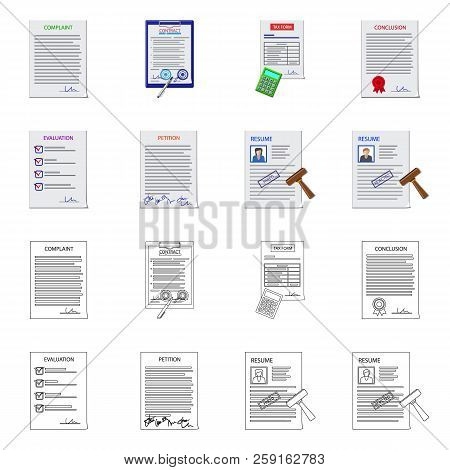 Vector Illustration Of Form And Document Sign. Collection Of Form And Mark Stock Symbol For Web.