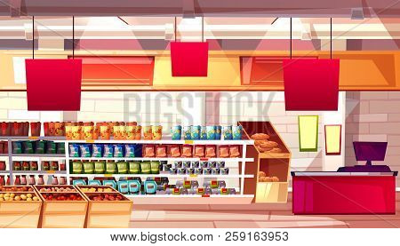 Supermarket And Grocery Food Products On Shelves Vector Illustration. No People On Cartoon Backgroun