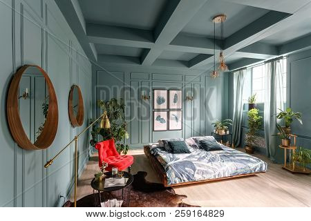 Morning Interior In Bedroom Hotel. Bright And Clean Interior Design Of A Modern Room With Bed, Chair