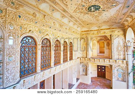 Kashan, Iran - October 22, 2017: The Summer Terrace Of Tabatabaei Historical House With Rich Plaster