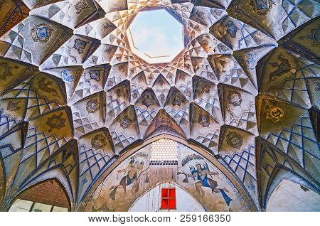 Kashan, Iran - October 22, 2017: The Scenic Cupola Of Small Court Of Hajj Seyed Hossein Sabbaq Timch