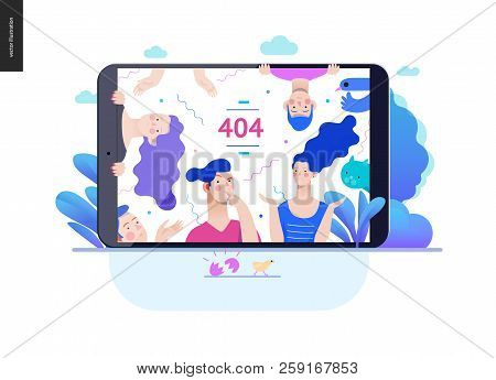 Business Series, Color 2- Error 404 -modern Flat Vector Concept Illustration Of Page Error 404 - Puz