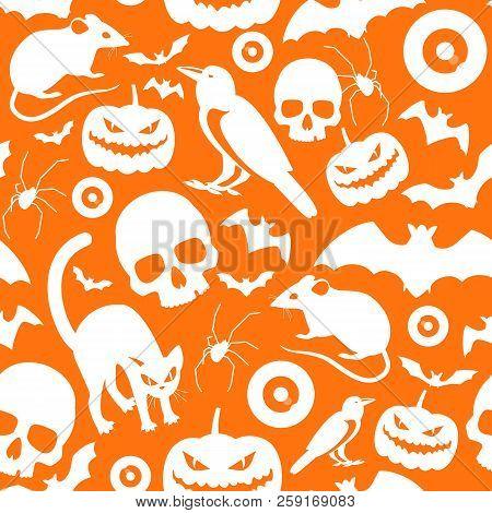 Halloween Symbols Seamless Orange Pattern With White Cartoon Icons Of Pumpkins Cats Rat Crows Bats S