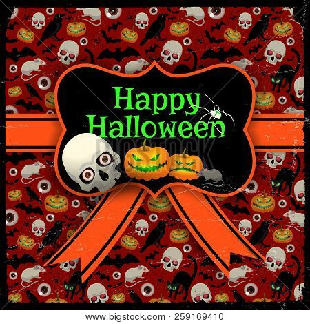 Happy Halloween Red Seamless Background With Holiday Symbols Pattern Orange Ribbon And Blank In Retr