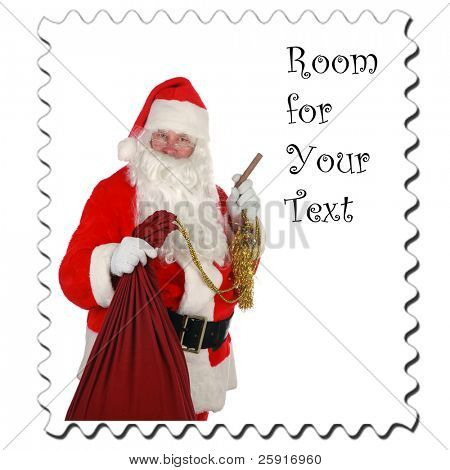 Santa Claus Stamp, isolated on white with room for your text poster