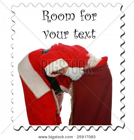 Santa Claus Stamp, isolated on white with room for your text