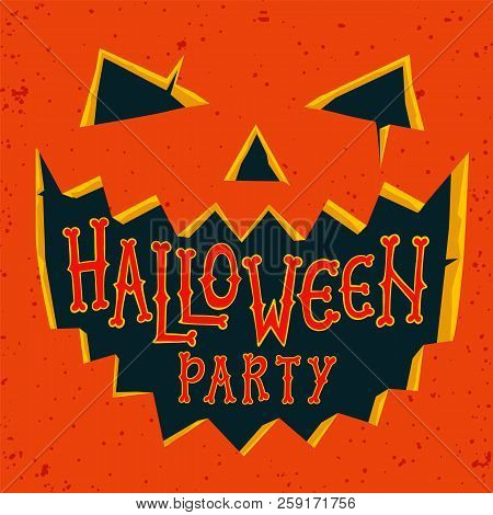 Halloween Party Invitation Card. Halloween Pumpkin With Carved Face And Text Halloween Party. Hallow