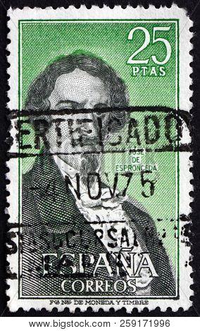 Spain - Circa 1972: A Stamp Printed In Spain Shows Jose De Espronceda, Spanish Poet, Circa 1972