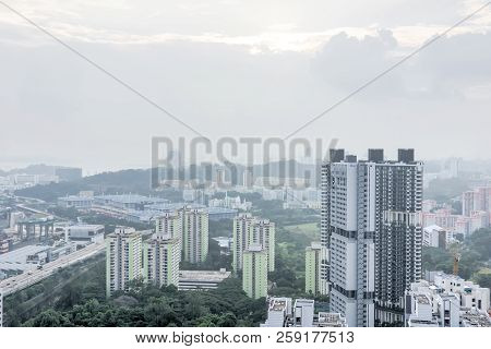 Aerial View Office And Residential Buildings From The South Of Singapore