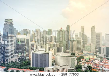 Top View Office And Residential Buildings Skylines At Singapore City Center