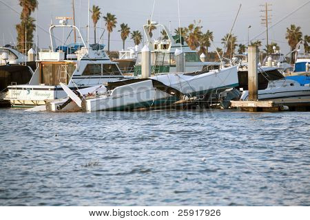 Huntington Harbor California January 19th, 2010: A tornado wreaks havoc and destruction during a freak storm, over turning boats and more