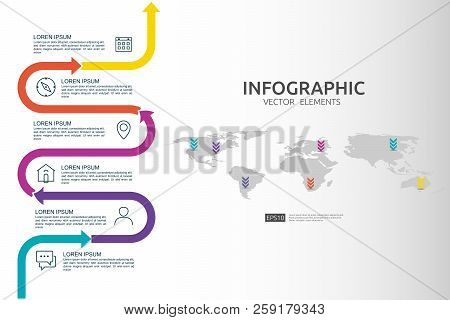 6 Steps Business Infographic. Timeline Design Template With Arrow Element And World Map Pin Backgrou