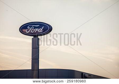 Belgrade, Serbia - September 19, 2018: Ford Logo On Their Main Dealership Store Belgrade. Ford Is An