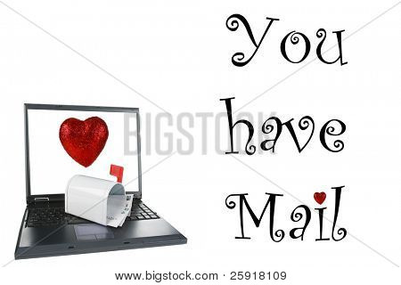 a laptop computer with a mail box isolated on white with  the text