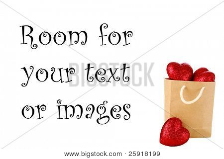 a paper bag over flowing with Valentine Day Hearts with room for your text or images, represents Love, Romance, Valentines Day and more