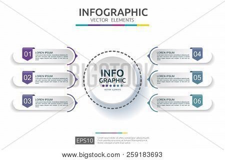 Business Infographic Template. Timeline Design With 3d Paper Label Concept. 6 Option Steps For Prese