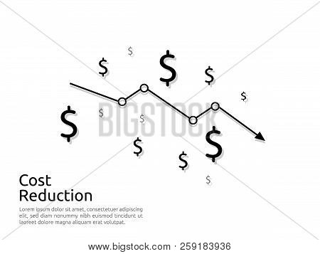 arrow decrease icon. dollar money fall down symbol. economy stretching rising drop. Business lost crisis decrease. cost reduction bankrupt icon. vector illustration. poster